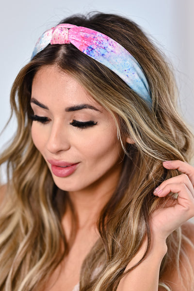 Holly Splatter Tie Dye Headband - Blue & Pink womens trendy splatter detail headband closet candy front