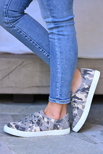Nellie Sneakers - Grey Camo womens trendy lace up camo print sneakers closet candy side