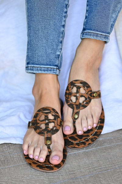 MSK Essential Sandals - Leopard womens trendy leopard print flip flop sandals closet candy front