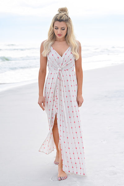 Change Directions Maxi Dress - Natural & Red womens trendy geometric print knot front closet candy front 2