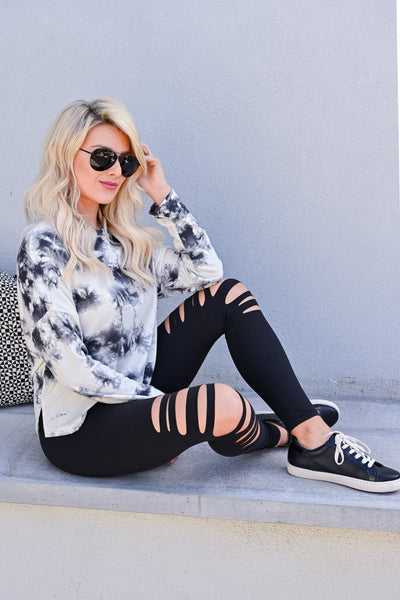 Perfect Pair Tie Dye Top - Ivory & Grey womens casual long sleeve cropped fit tie dye top closet candy sitting