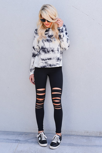 Perfect Pair Tie Dye Top - Ivory & Grey womens casual long sleeve cropped fit tie dye top closet candy front 2