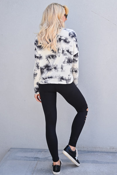 Perfect Pair Tie Dye Top - Ivory & Grey womens casual long sleeve cropped fit tie dye top closet candy back