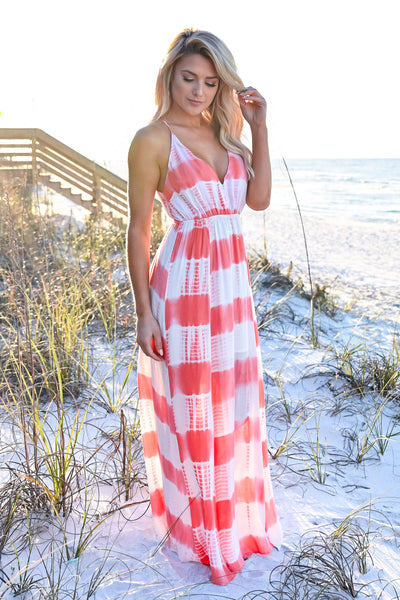 Free By The Sea Maxi Dress - Coral womens trendy adjustable long tie dye maxi dress closet candy front 2