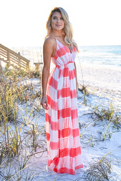 Free By The Sea Maxi Dress - Coral womens trendy adjustable long tie dye maxi dress closet candy side