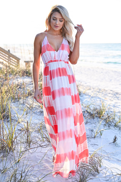 Free By The Sea Maxi Dress - Coral womens trendy adjustable long tie dye maxi dress closet candy front 3