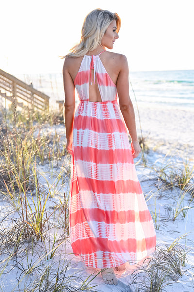 Free By The Sea Maxi Dress - Coral womens trendy adjustable long tie dye maxi dress closet candy back