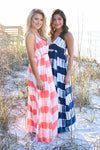Free By The Sea Maxi Dress - Navy womens trendy tie dye adjustable strap halter maxi dress closet candy front hannah ann and julianna