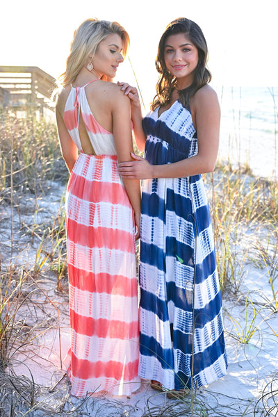 Free By The Sea Maxi Dress - Coral womens trendy adjustable long tie dye maxi dress closet candy hannah ann and julianna