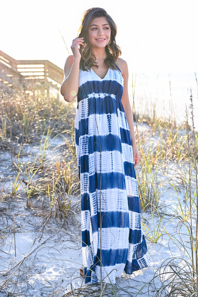 Free By The Sea Maxi Dress - Navy womens trendy tie dye adjustable strap halter maxi dress closet candy front 2 hannah ann