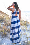 Free By The Sea Maxi Dress - Navy womens trendy tie dye adjustable strap halter maxi dress closet candy hannah ann back