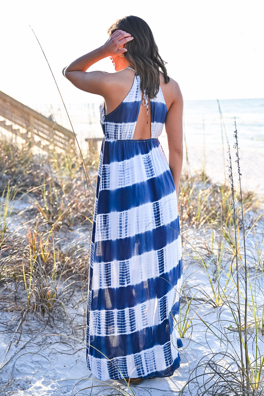 Free By The Sea Maxi Dress - Navy womens trendy tie dye adjustable strap halter maxi dress closet candy front hannah ann