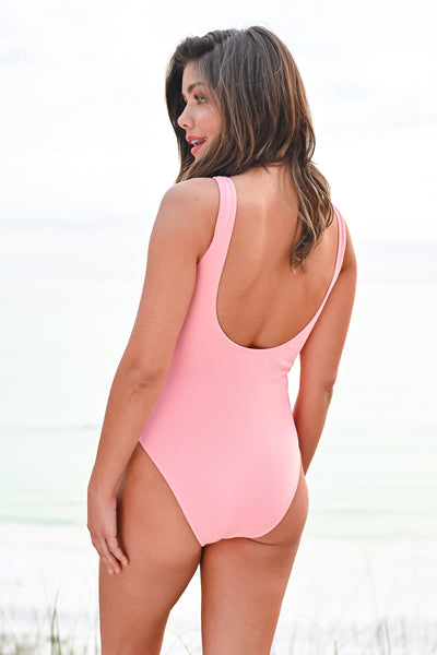 Bigger Waves To Catch Swimsuit - Pink womens trendy button front tank strap one piece swimsuit closet candy hannah ann back