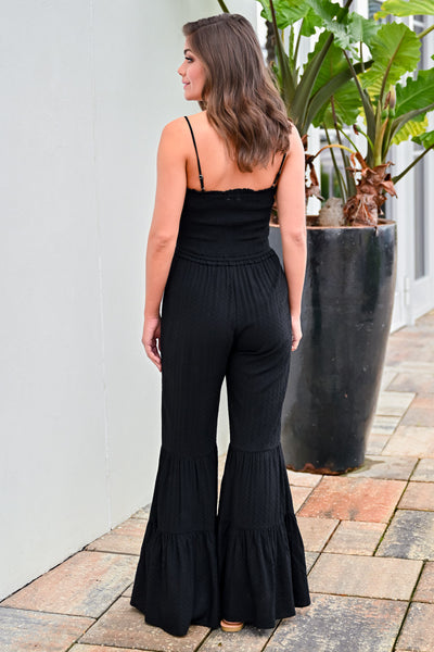 Stand Your Ground Jumpsuit - Black womens trendy bell bottom textured jumpsuit closet candy hannah ann back