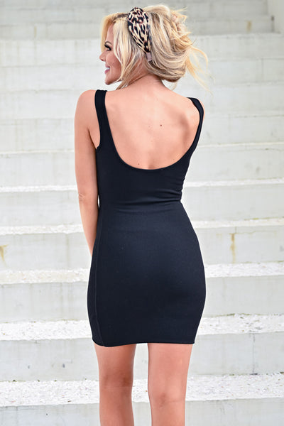 Got It Going On Dress - Black womens ribbed knit bodycon style tank strap fitted dress closet candy back
