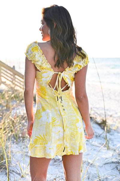 Summer Lovin' Dress - Sunshine womens trendy ruffle sleeve button detail tie back dress closet candy hannah ann back 2