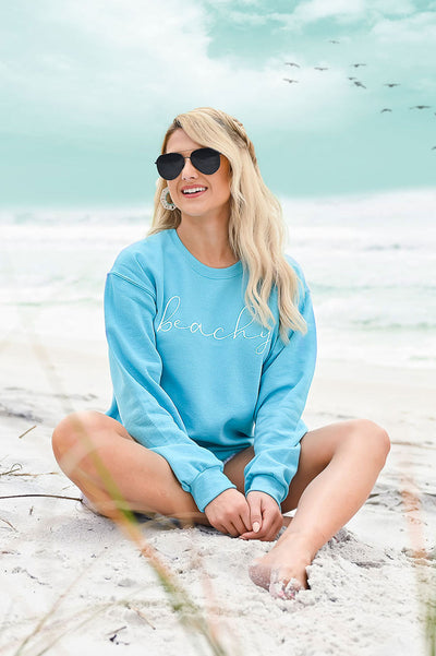 Beachy Sweatshirt - Aqua womens casual long sleeve beachy sweatshirt closet candy sitting