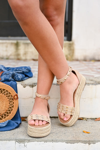 Katie Platform Studded Sandal - Natural womens trendy wedge sandal with studs closet candy front