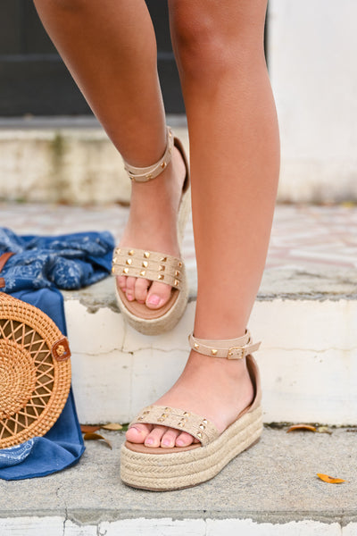 Katie Platform Studded Sandal - Natural womens trendy wedge sandal with studs closet candy front 2