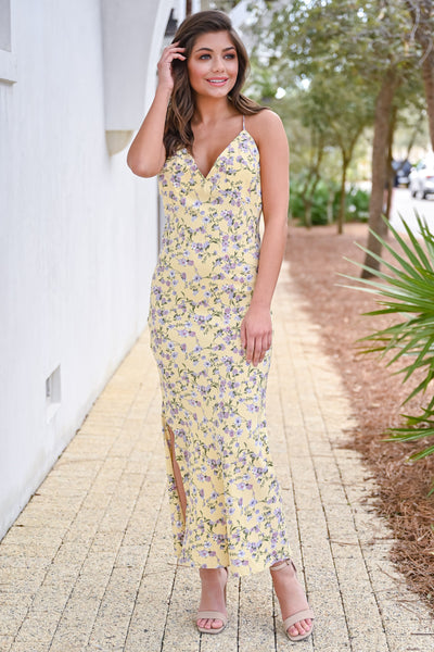 Sweet Like The Sun Maxi Dress - Yellow womens trendy ankle length long floral dress closet candy front 2 hannah ann