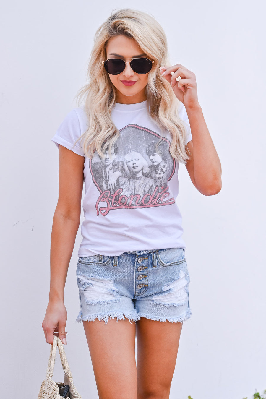 Blondie Graphic Tee - White womens casual distressed short sleeve graphic tshirt closet candy front