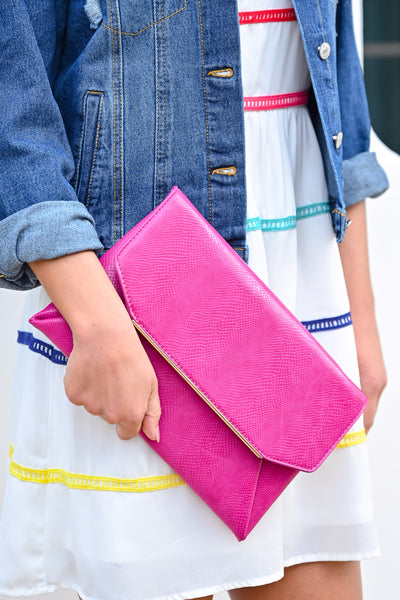 Sealed For Good Clutch - Magenta womens trendy colorful handheld clutch purse closet candy 1