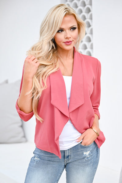 Mind Your Business Blazer - Dusty Rose womens trendy 3/4 sleeve lightweight casual blazer closet candy front