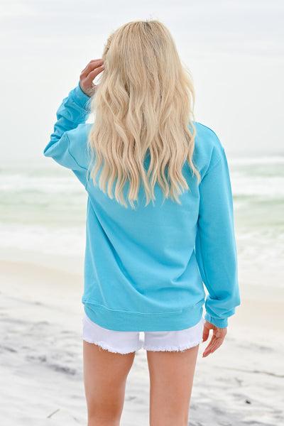 Beachy Sweatshirt - Aqua womens casual long sleeve beachy sweatshirt closet candy back