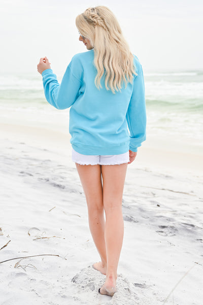 Beachy Sweatshirt - Aqua womens casual long sleeve beachy sweatshirt closet candy back 2