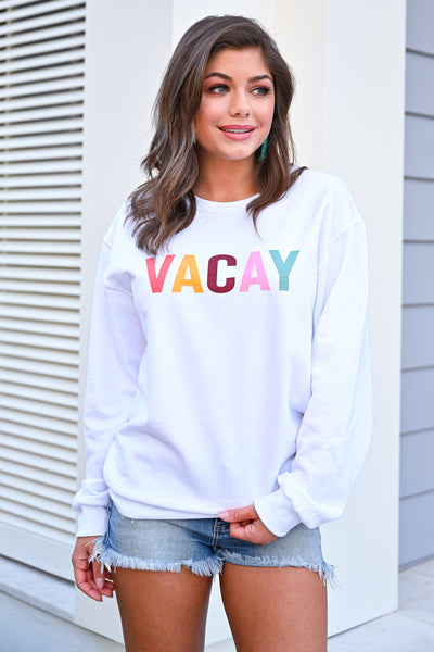 """Vacay"" Graphic Sweatshirt - White womens casual graphic vacation long sleeve sweatshirt closet candy front"
