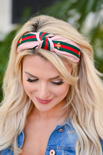 Hannah Headband - Pink womens trendy bee striped headband closet candy front 2