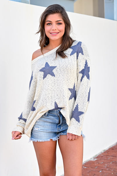 Wishes Fulfilled Star Sweater - Dusty Blue womens casual off the shoulder oversized star sweater closet candy hannah ann front