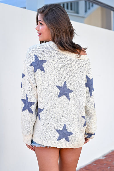 Wishes Fulfilled Star Sweater - Dusty Blue womens casual off the shoulder oversized star sweater closet candy hannah ann back