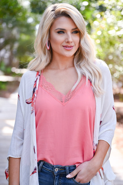 LOVE STITCH Slice Of Heaven Cami - Coral womens trendy lace detail adjustable strap cami closet candy front
