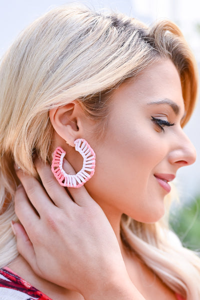 Last Sunset Hoop Earrings - Coral womens trendy rattan detail hoop earrings closet candy side