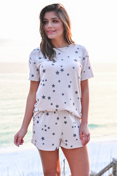 Seeing Stars Loungewear - Blush womens casual star print lounge set closet candy hannah ann front