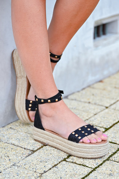 Katie Platform Studded Sandal - Black womens trendy studded platform sandals closet candy side