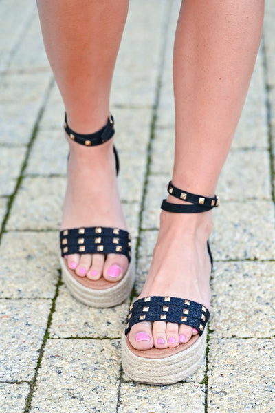 Katie Platform Studded Sandal - Black womens trendy studded platform sandals closet candy front 2