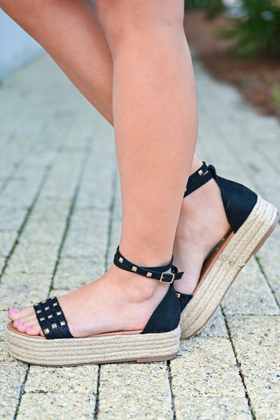 Katie Platform Studded Sandal - Black womens trendy studded platform sandals closet candy side 2
