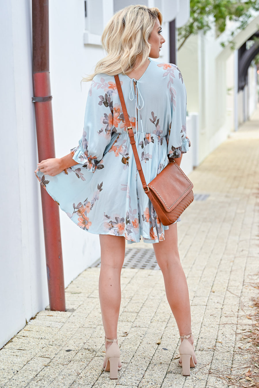 Summer Rays Floral Dress - Mint womens trendy floral print ruffle detail dress closet candy front