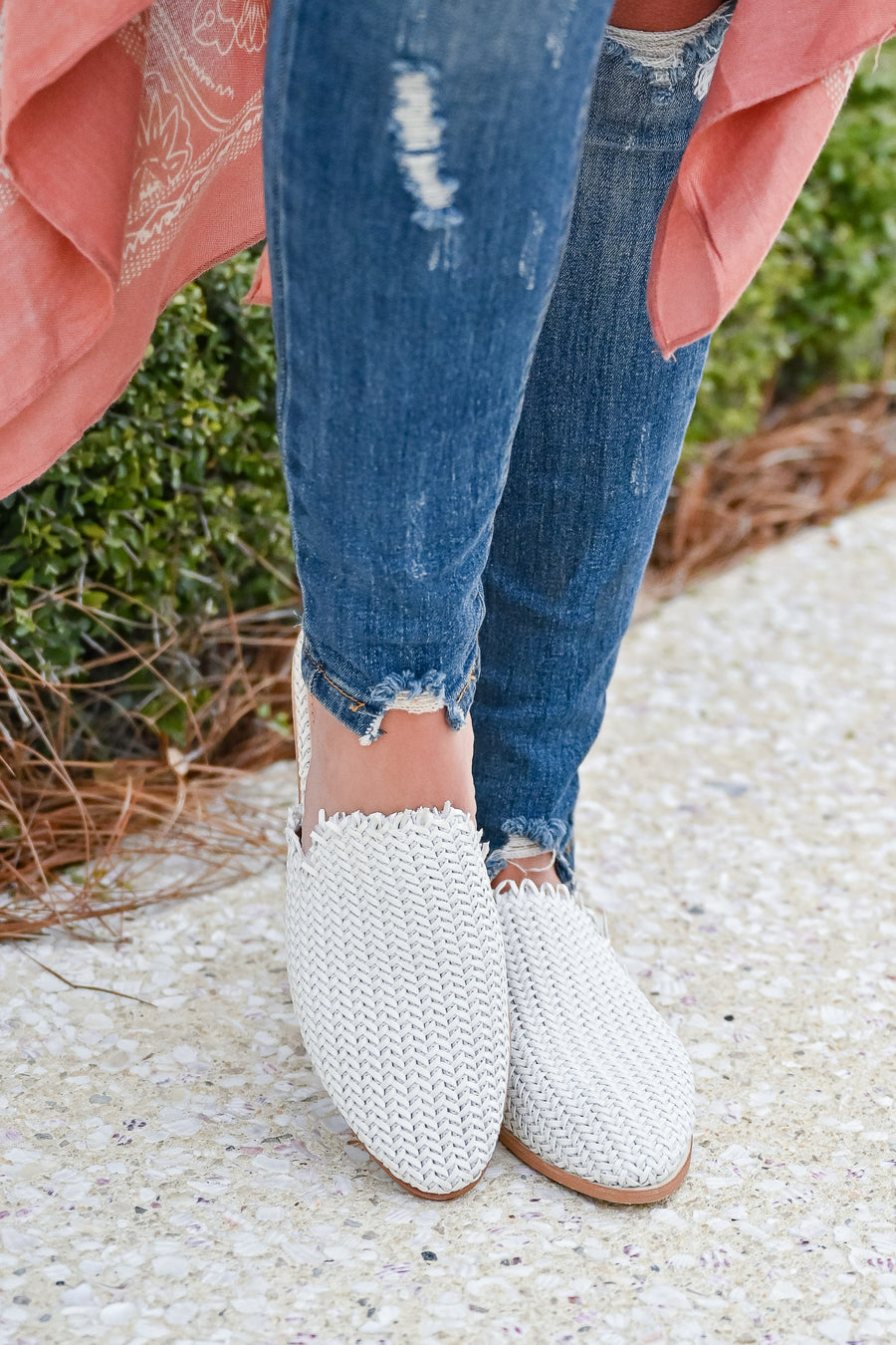 Vivian Woven Mules - White womens trendy woven mules closet candy front