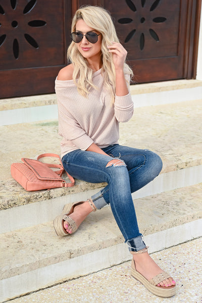 Beach Town Waffle Knit Top - Oatmeal womens trendy off the shoulder waffle knit top closet candy front