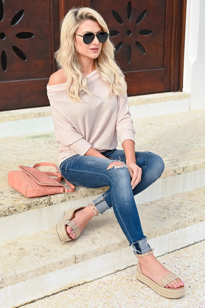 Beach Town Waffle Knit Top - Oatmeal womens trendy off the shoulder waffle knit top closet candy sitting