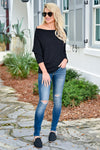 Beach Town Waffle Knit Top - Black womens trendy waffle knit off the shoulder top closet candy front