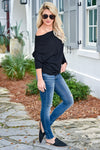 Beach Town Waffle Knit Top - Black womens trendy waffle knit off the shoulder top closet candy side