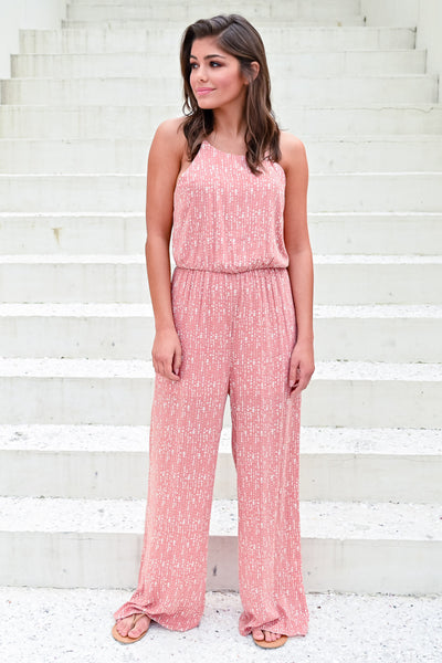 Flirting with Summer Jumpsuit - Dusty Rose womens trendy printed jumpsuit hannah ann closet candy front