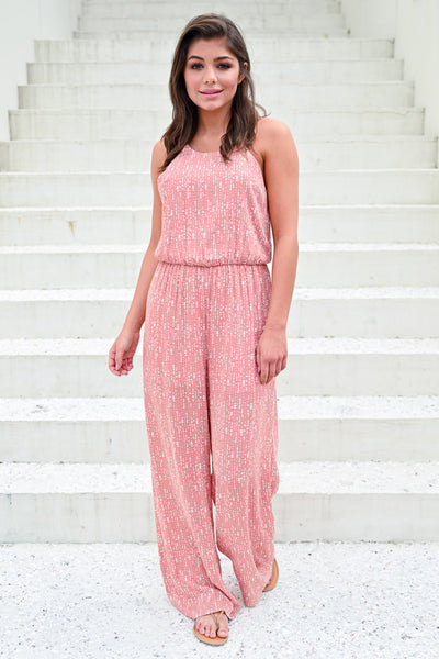 Flirting with Summer Jumpsuit - Dusty Rose womens trendy printed jumpsuit hannah ann closet candy front 2