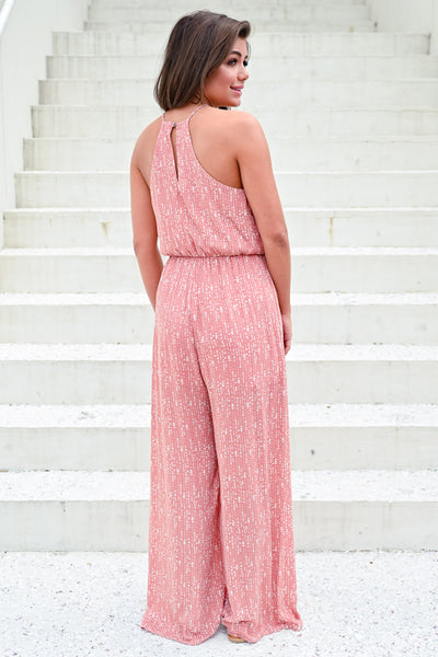 Flirting with Summer Jumpsuit - Dusty Rose womens trendy printed jumpsuit hannah ann closet candy back