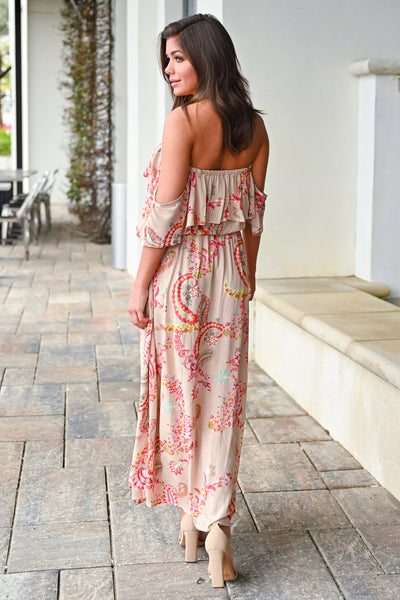 Spring Statement Maxi Romper - Taupe womens trendy paisley print off the shoulder maxi romper closet candy back