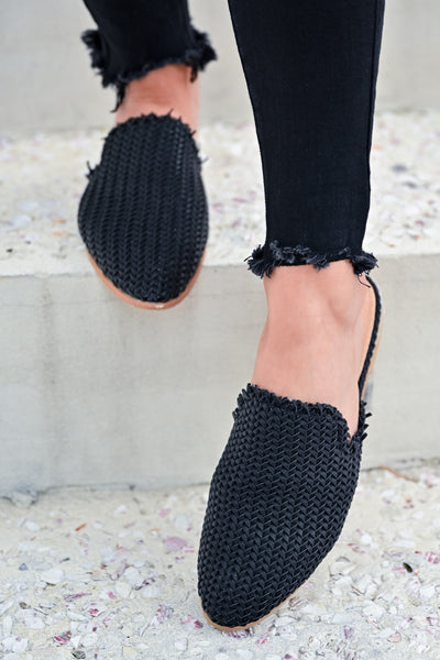 Vivian Woven Mules - Black womens trendy woven mules closet candy front 3